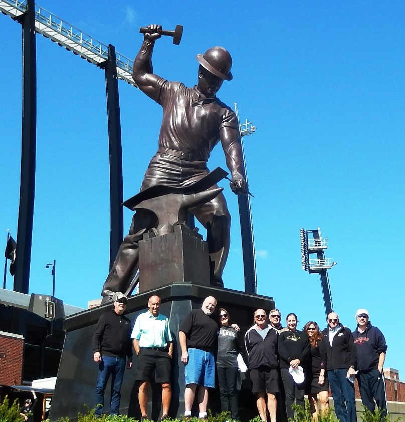Sigs, wives at the Boilermaker statue