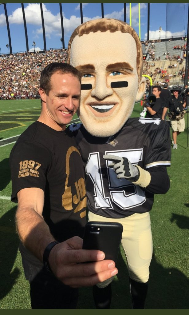 Drew Brees with Purdue Legend Brees