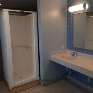 shower in women's guest bathroom