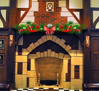 Great Hall fireplace with garland